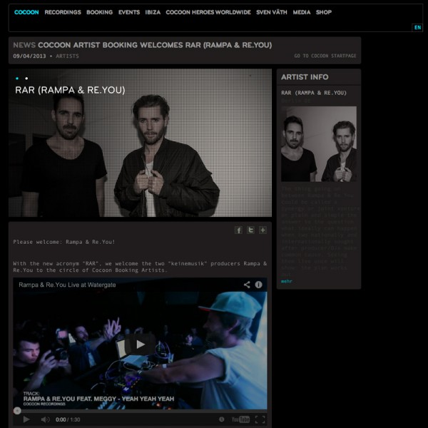 RAR joined Cocoon Artist Booking